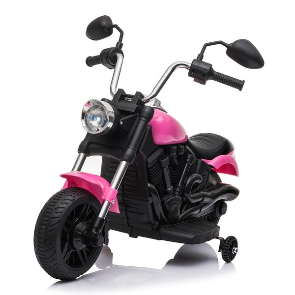 "Kids Electric Ride On Motorcycle With Training Wheels 6V Pink - 7'6"" x 9'6"" - 7'6"" x 9'6"". Opens flyout."