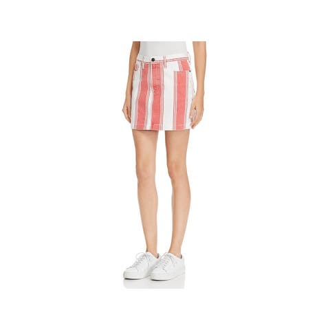 Frame Denim Womens Denim Skirt Mini Striped