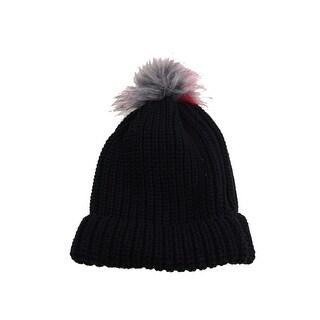 Inc International Concepts Black Faux-Fur Pom Cuffed Hat OSFA