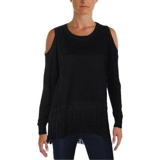 Aqua Womens Pullover Sweater Cold Shoulder Fringed
