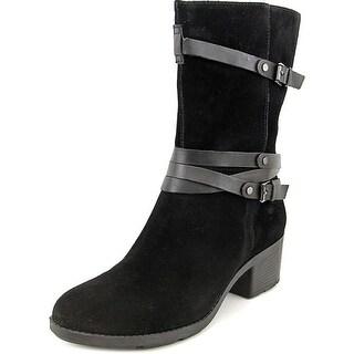 Bandolino Ursal Women Round Toe Suede Black Mid Calf Boot
