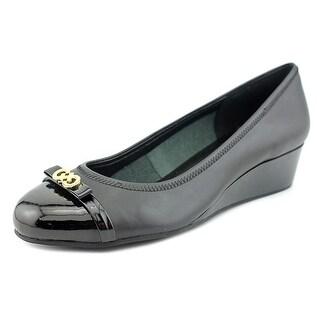 Cole Haan Elsie Logo Ballet II Women Open Toe Leather Black Wedge Heel