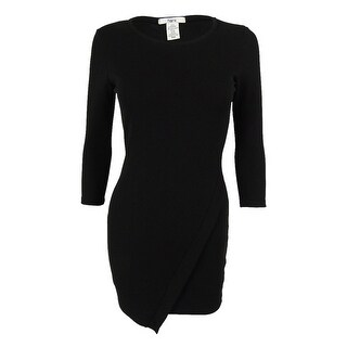 Bar III Women's 3/4 Sleeves Envelope Dress - Deep Black (Option: Xxs)