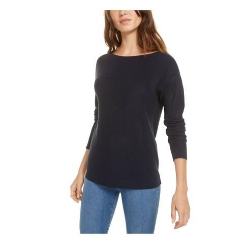 BAR III Womens Navy Tie Long Sleeve Jewel Neck Sweater Size L