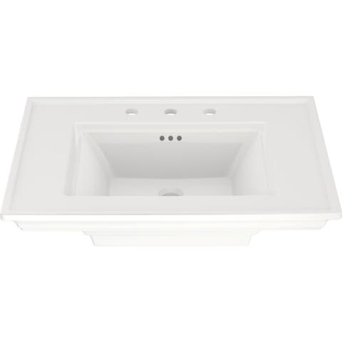 """American Standard 0297.008 Town Square S 30"""" Rectangular Fireclay Pedestal Bathroom Sink with Overflow and 3 Faucets Holes at"""