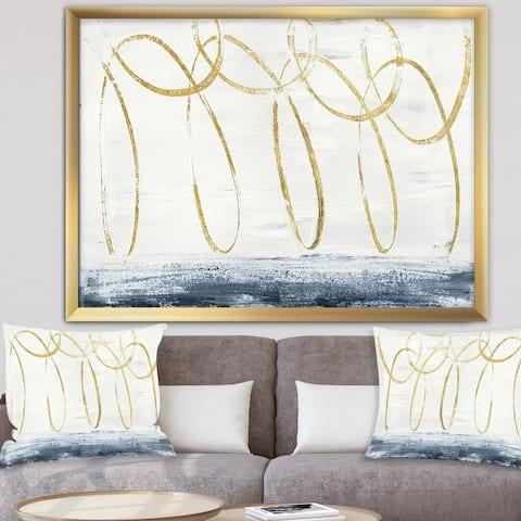 Designart 'Gold Abstract Geometric Shape' Modern Transitional Framed Art Print