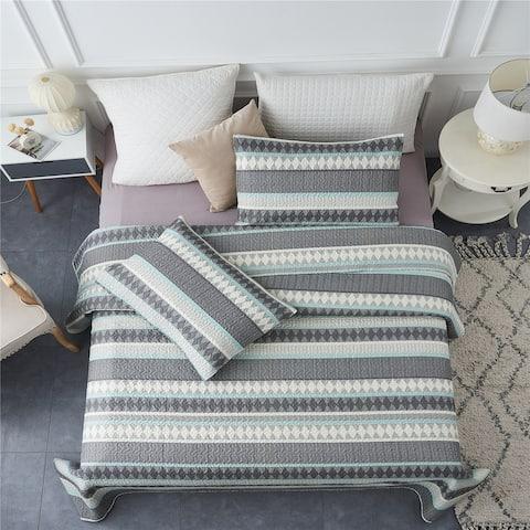 3-piece Striped Quilt Set Reversible Coverlets Bedding Set