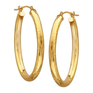 Just Gold Etched Oblong Hoop Earrings in 14K Gold - YELLOW