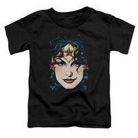 Dco Jla-Wonder Woman Head Short Sleeve Toddler Tee, Black - Smal