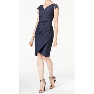 Alex Evenings Charcoal Gray Womens Size 10 Embellished Sheath Dress