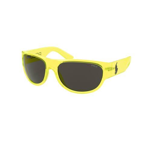Polo PH4166 586787 62 Shiny Transparent Yellow Fluo Man Pillow Sunglasses