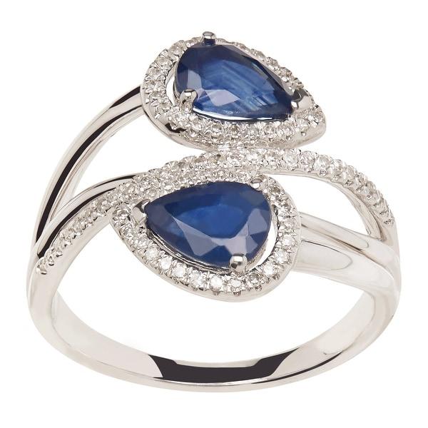 1 3/4 ct Natural Kanchanaburi Sapphire & 1/5 ct Diamond Bypass Ring in 14K White Gold - Blue