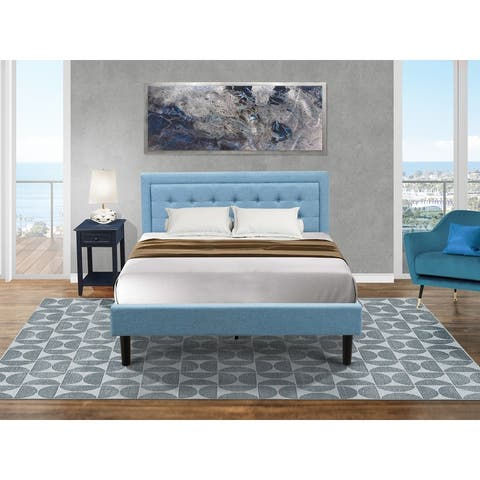 Fannin Queen Bedroom Set with Wood Queen Bed Frame and an End Table for bedroom - Denim Blue Fabric - ( End Table Piece Option )