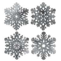 "Club Pack of 48 Die-Cut Foil Snowflake Christmas Party Cutout Decorations 14"" - Silver"