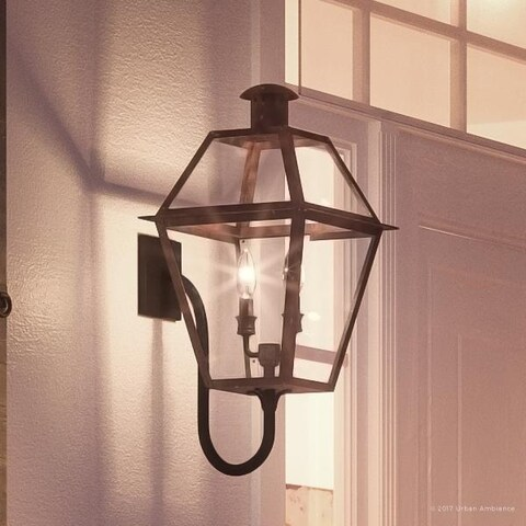 "Luxury Historic Outdoor Wall Light, 23.5""H x 10.5""W, with Tudor Style, Antique Gas Lantern Design, Rustic Copper Finish"