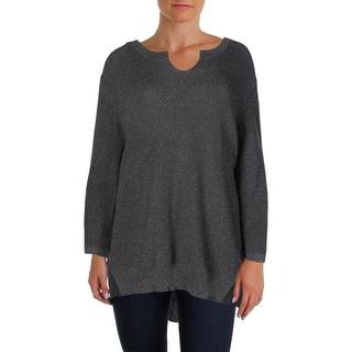 Marina Rinaldi Womens Acciaio Metallic Chiffon Trim Pullover Sweater - XL