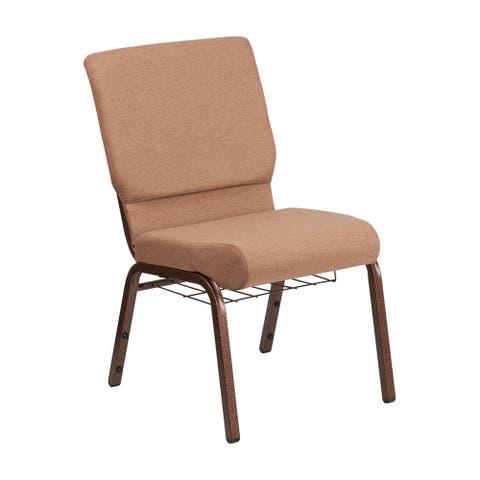 Offex 18.5''W Church Chair in Caramel Fabric w/ Rack-Copper Vein Frame