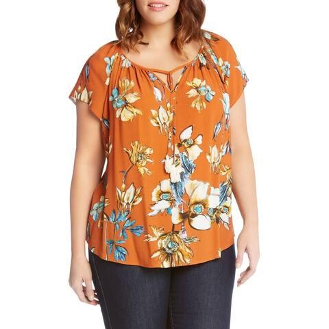 Karen Kane Orange Womens Size 2X Plus Floral Split-Neck Blouse