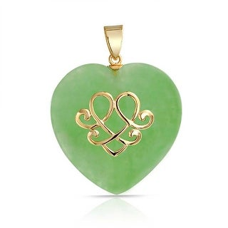Bling Jewelry .925 Silver Love Knot Green Jade Heart Pendant