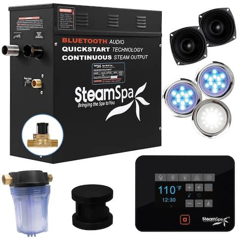 SteamSpa Black Series Bluetooth 6kW QuickStart Steam Bath Generator in Matte Black