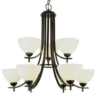 Nine Light Up Lighting Two Tier Chandelier from the Contemporary Collection