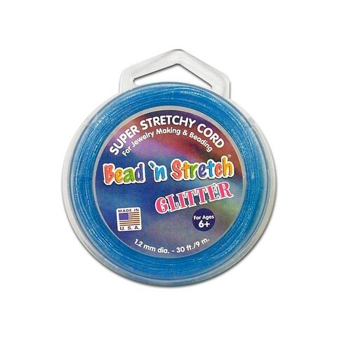 Toner Bead N Stretch Cord 1.2mm Glitter Blue 30ft