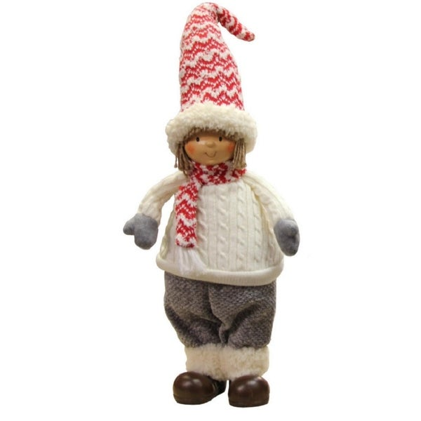 """24.5"""" Ivory, Red, and Gray Cheerful Young Boy Gnome Christmas Decoration"""