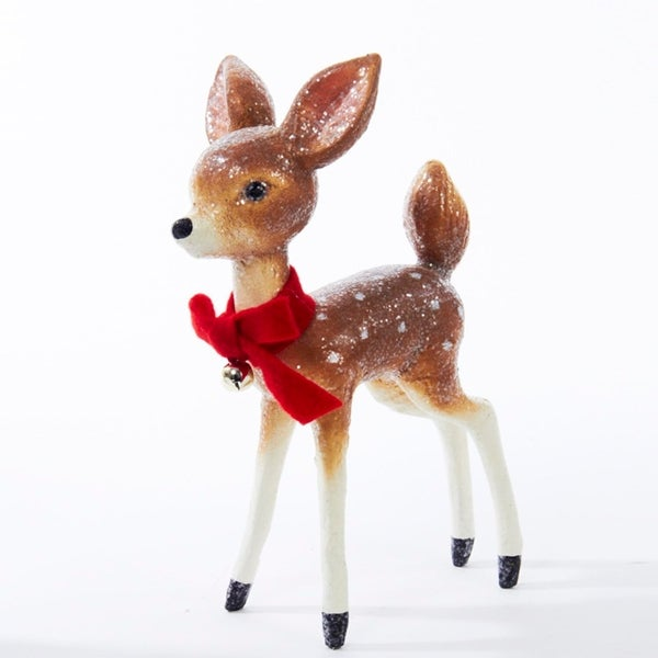 """9"""" Glittered Fawn Deer with Red Bow and Jingle Bell Decorative Christmas Table Top Figure - brown"""