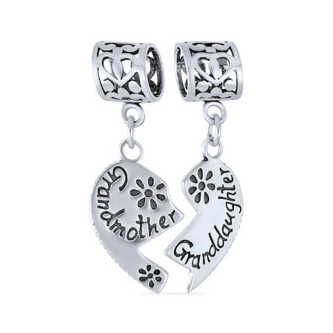 BFF Grandmother Gr daughter 2PC Split Dangle Charm Sterling Silver
