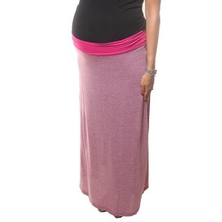 Love My Belly Women Fuchsia Long Ankle Length Maternity Skirt