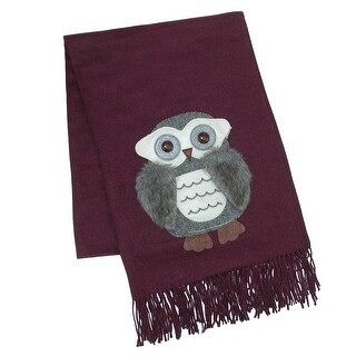 CTM® Women's Ultra Soft Owl Patch Faux Fur Scarf - One size