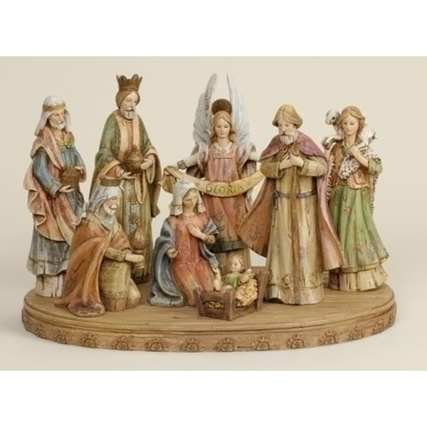 9-Piece Joseph's Studio Religious Wood Carved Christmas Nativity Set