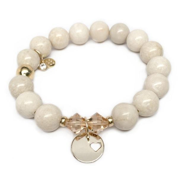 "Ivory Jade Heart Disc Gold Charm Paris 7"" Bracelet"