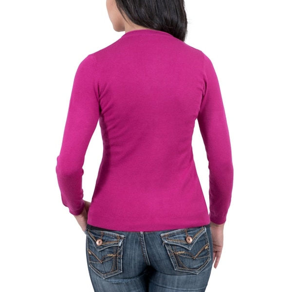 Real Cashmere Fuschia V-Neck Cardigan Womens Sweater - Free ...
