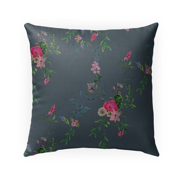FLORAL DARK GREY Indoor-Outdoor Pillow By Anne Cote. Opens flyout.