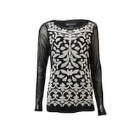 INC International Concepts Women's Embriodered Illusion Top - Deep Black - pxs