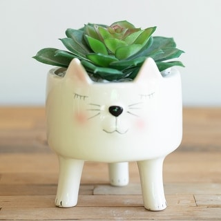 "Link to 4"" Cute Pink White Cat Ceramic with Legs Similar Items in Planters, Hangers & Stands"