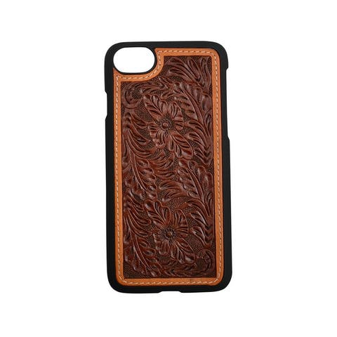 3D Western Cell Phone Case Floral Hand Tooled Snap-On Natural