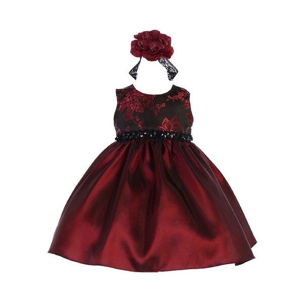 c0f5bf59a48 Shop Crayon Kids Baby Girls Burgundy Floral Sequin Flower Girls Dress 6-9M  - Free Shipping On Orders Over  45 - Overstock - 23140181