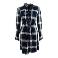 Tommy Hilfiger Women's Ruffled Plaid Shirtdress - Multi