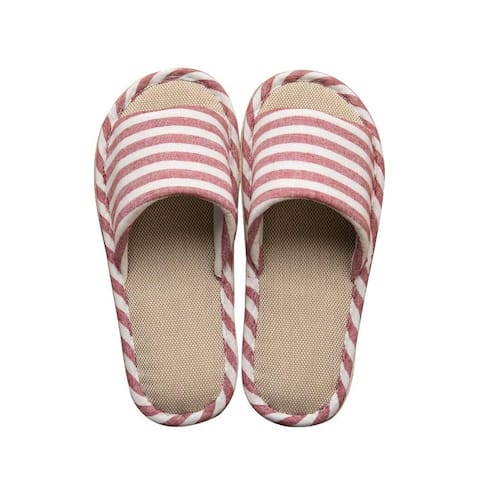 Paangkei House Slippers Womens Mens Indoor Home Cotton Flax Shoes - Men 5.5-6 & Women 9-10