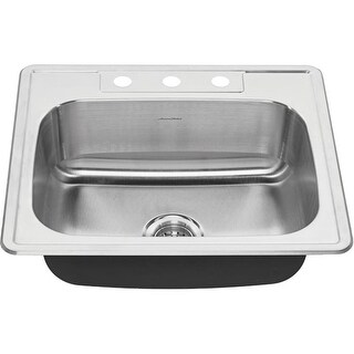 "American Standard 20SB.8252283S Colony 25"" Single Basin Stainless Steel Kitchen Sink for Drop In Installations with Three Faucet"