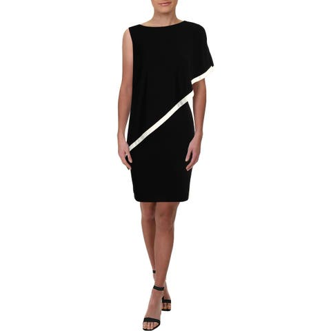 Lauren Ralph Lauren Womens Timna Cocktail Dress One Shoulder Two Tone