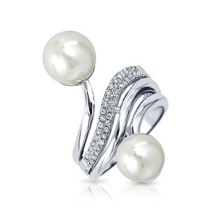 Bling Jewelry Imitation Pearl Pave CZ Bridal Cocktail Ring Rhodium Plated - White