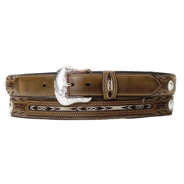 Nocona Western Belt Mens Top Hand Southwest Coffee Distressed