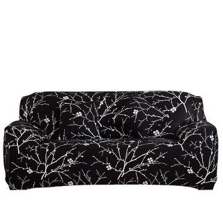 Plum Blossom Pattern L-Shaped Stretch Sofa Covers Couch for 1 2 3 Seater Black