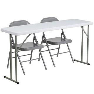 Rivera 3pcs 18''W x 60''L Rectangular Table w/2 Metal Folding Chairs