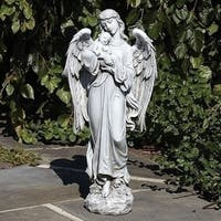 "25.5"" Gray Guardian Angel Holding Baby Outdoor Decorative Garden Statue - Grey"