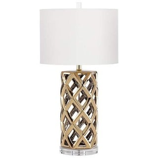 Cyan Design Baba Table Lamp Baba 1 Light Accent Table Lamp with White Shade - satin brass
