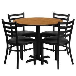"Dyersburg 5pcs Table Set Round 36"" Natural X-Base, Black Chair"